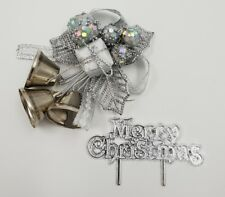 Cake Decoration Set Silver  Holly & Bells With MERRY CHRISTMAS Sign