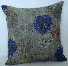 "Indian Floral Kantha Cushion Cover Pillow Cotton Pillow Case Cotton Handmade 16"""