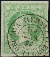 Spain. Canary islands Filatelia. º51. 1860. 2 cuartos Green. Postmark PORT OF OR