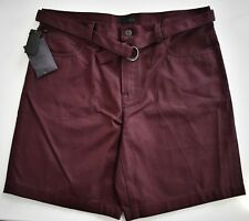 New Authentic PRADA Burgundy Cotton Denim BERMUDA Belted Shorts 34