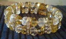 Handmade Gold/Clear Crystal Stretch Bracelet
