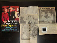 JIMMY CARTER & ROSALYNN CARTER SIGNED BOOK EVERYTHING TO GAIN W/SLIDE & PAPERS