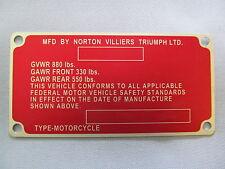 06-6213 NORTON COMMANDO FRAME ID CERTIFICATION PLATE 850cc MK3 *