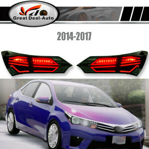 Smoked LED Tail Lamps For Toyota Corolla 2014-2017 Sedan ZRE172 Rear Lights