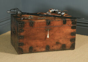 Antique English Victorian Pine & Steel Strapped Zinc Lined Chest/Trunk Circa1850