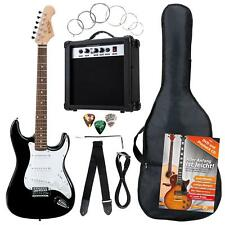 PACK GUITARE ELECTRIQUE SET AMPLIFICATEUR SAC CABLE SANGLE CORDES PLECTRES NOIR
