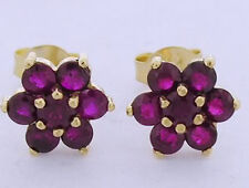 E058 Genuine 9ct Yellow Gold Natural Ruby Blossom Cluster Stud Earrings Daisy