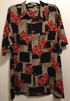 EUC Men's Imprints Black Hibiscus Floral Bamboo Hawaiian Aloha Camp Shirt XL