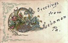 1906 postcard,flower basket,Greetings from Lebanon PA
