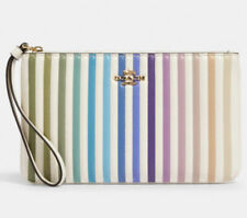 Coach Ombre Large Quilted Leather Wristlet Wallet Clutch White Rainbow 92283 NWT