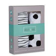 Bassinet Sheet Set 2 Pack 100% Jersey Cotton Black and White Abstract Stripes.