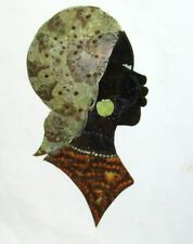 REAL BUTTERFLY WINGS AFRICAN WOMAN PAINTING UNSIGNED #2