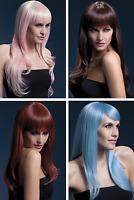 "NEW Fever Full Fringe Long Curled Wavy Wig 26"" Sienna - Ladies Fancy Dress"