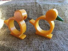 2 Vintage 1950's Butterscotch Yellow Bakelite Napkin Ring Bird,One Green Beak