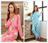 Cartoon Cat Pajama Sets Women's Nightdresses Sleepshirt Sleepwear Nightshirt