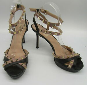 VALENTINO rockstud black and nude platform ankle strap heels sz 40.5