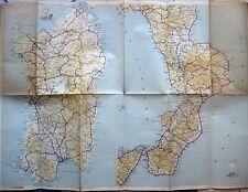 VECCHIA MAPPA CARTA AUTOMOBILISTICA STRADALE SICILIA CALABRIA - DE AGOSTINI 1940