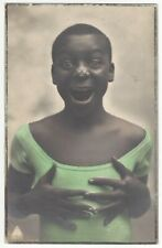 1920's Studio REAL PHOTO - Happy Black African Girl w/ Fly on Nose, SUPER Image