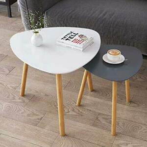 Bamboo Nesting Triangle End Table,Set of Modern 2 Coffee Table