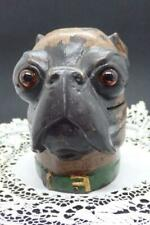 Large Vtg Cold Painted Bronze Inkwell of Dog in Green Collar