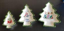 Set of 3 Vtg Ceramic Christmas Tree Nesting Dishes Green Wisemen Owl Poinsettia