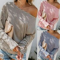 Women's Casual Long Sleeve Skew Collar Shirts Stripe Casual Tunics Tops Blouse
