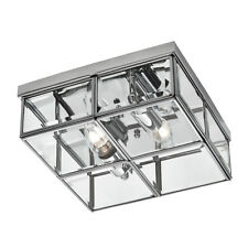 Searchlight 2 Light Chrome Clear Glass Flush Ceiling Mount Fitting Chandelier