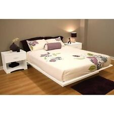 White 3 Piece Full Platform Bed Set Home Living Bedroom Furniture Nightstands