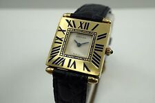CARTIER QUADRANT GRAND MODELE 18K YELLOW GOLD SQUARE w/ENAMEL AND BOX C.1980'S