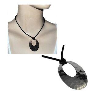 Collier ras de cou en argent massif 925 cordon noir pendentif ovale bijou