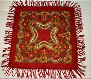 Vintage Pavlovo Posad Russian Red shawl  Russian scarf Wool floral wrap USSR