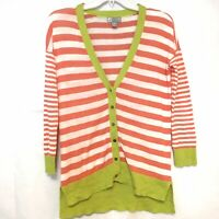 JCP Womens Size S Striped Orange Green White Linen Cotton Cardigan Sweater