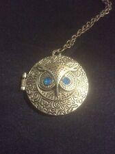 *Vintage Style Gold Owl Locket Necklace With Diamanté*