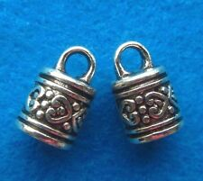 12 Antique Silver END CAP Round Tube Cord Tips Tibetan Silver  Jewelrys Finding