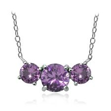Sterling Silver Purple Cubic Zirconia Three Stone Necklace