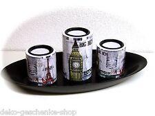 Decorativo Portavelas Set motivo de ciudad con 29 cm bol y piedras naturales 334