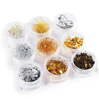 9 Pots DIY Foil Nail Chips Foil Flakes Tinsel Nails Glitter Decals Supplies