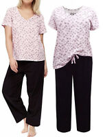 Ladies EVANS Short Sleeve PURE COTTON pink Floral Pyjamas PJ's 14- 32 NEW