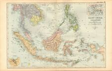 1893 Antique Map - East India Islands, Sumatra, Borneo, Philippines, Molucca
