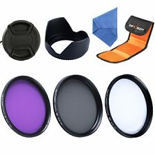 55mm Lens Filter Kit Slim UV FLD CPL for Sony Alpha + Lens Hood Cap K&F Concept