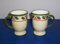 Home Victorian Holly 2 Footed Christmas Mugs (10 oz) Holly Berry Green Trim NICE