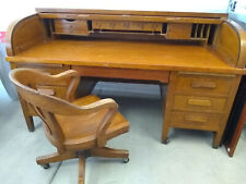 Santa Fe Railway Roll top Desk with chair from Claims Department+Caboose Chairs