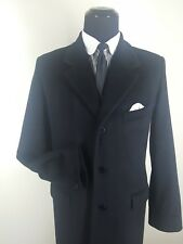 AGNES B.Homme Made In France  Black Topcoat  50% Wool & 50% Angora 3 Btn  40 Reg