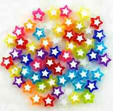 100Pcs Candy Color Acrylic Star Shape Spacer Loose Beads 9mm