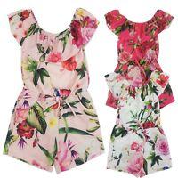 Kids Girls Floral Print Playsuit Jumpsuit Off Cold Shoulder Bardot Age 2-14 Year
