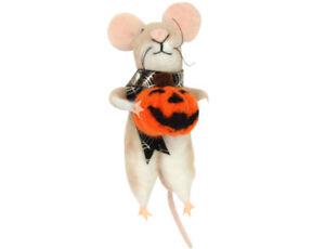 Gisela Graham Wool Mix Halloween Pumpkin Mouse - Novelty Halloween Decoration