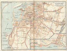 Carta geografica antica LIVORNO Pianta della città TCI 1923 Old antique map