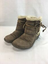 Ugg 5178 Boots Womens 7 Brown Slip On Leather Suede Shearling Sherpa Lined