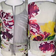 8b340ac4e9cb0d Almost Famous London ❤ 100% Silk Floral Blouse Top UK 10-12.