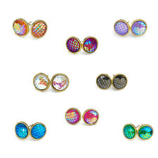 Design Mermaid Resin Round Copper Rhinestone Ear Stud Earrings Jewelry 8 Colors as Picture Show 8 Set